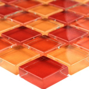 Mosaikfliesen Glas 23x23x8mm Orange Beige