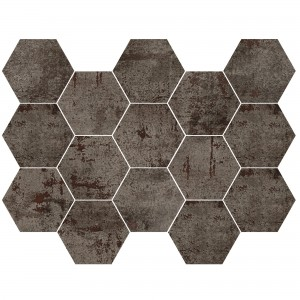 Mosaikfliese Phantom Steel Hexagon Anpoliert