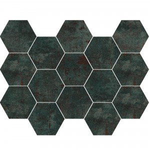 Mosaikfliese Phantom Sea Green Hexagon Anpoliert