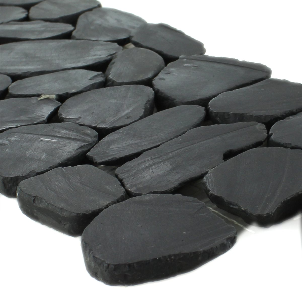 Flusskiesel bord re 10x30cm anthrazit pebble - Flusskiesel fliesen ...